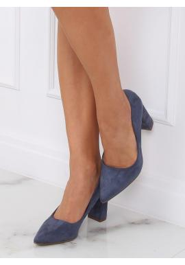 Modré semišové lodičky na stabilnom podpätku pre dámy