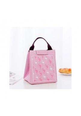 Termotaška na prepravu potravín s motívom plameniakov v ružovej farbe