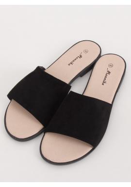 Dámske semišové šľapky so širokým pásom v čiernej farbe