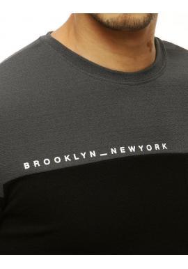 Štýlové pánske tričko tmavosivej farby s vreckom na hrudi