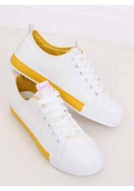 Bielo-žlté štýlové tenisky pre dámy