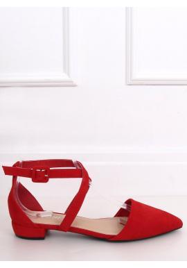 Dámske semišové balerínky s prekríženými pásikmi v červenej farbe