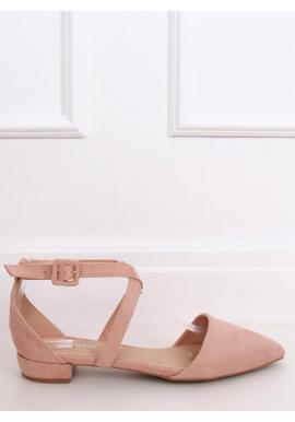 Svetloružové semišové balerínky s prekríženými pásikmi pre dámy