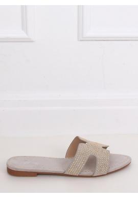 Semišové dámske šľapky sivej farby so zlatým vybíjaním
