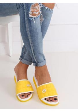 Dámske pohodlné šľapky s prešívaným pásom v žltej farbe