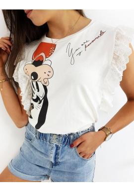 Dámske štýlové tričko s rozprávkovým motívom v bielej farbe