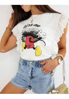Módne dámske tričko bielej farby s rozprávkovým motívom