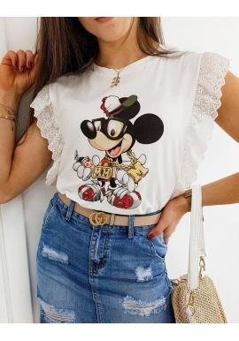 Dámske štýlové tričko s potlačou Mickey v bielej farbe