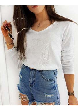 Biele bavlnené tričko s 3D aplikáciou pre dámy