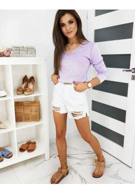 Bavlnené dámske tričko fialovej farby s 3D aplikáciou