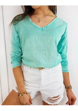 Dámske bavlnené tričko s 3D aplikáciou v tyrkysovej farbe