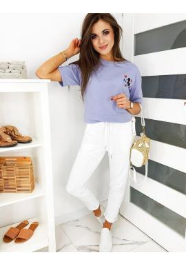 Pohodlné dámske nohavice bielej farby s gumičkou v páse