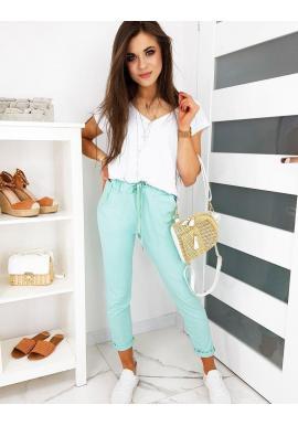 Dámske pohodlné nohavice s gumičkou v páse v mätovej farbe