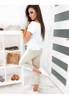 Módne dámske nohavice béžovej farby s pásom na boku