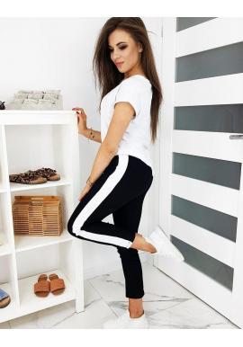 Čierne módne nohavice s pásom na boku pre dámy