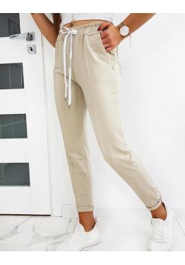 Dámske štýlové nohavice so záhybmi v béžovej farbe