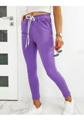 Fialové štýlové nohavice so záhybmi pre dámy