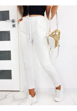 Štýlové dámske nohavice bielej farby so záhybmi