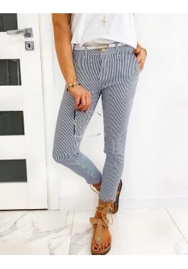 Tmavomodré pásikavé nohavice pre dámy