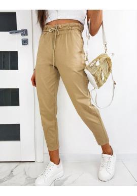 Béžové pohodlné nohavice s ozdobným nariasením pre dámy