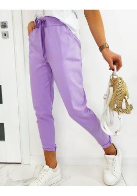 Dámske klasické nohavice s viazaním vo fialovej farbe