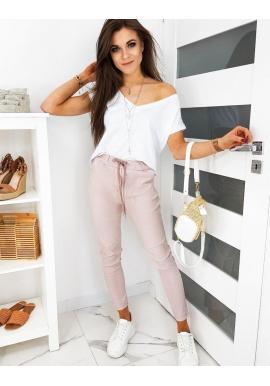 Ružové klasické nohavice s viazaním pre dámy