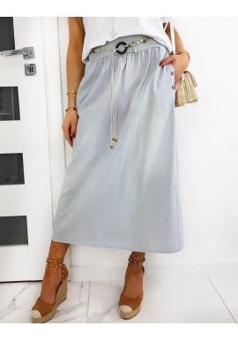 Dámska dlhá sukňa s opaskom v sivej farbe