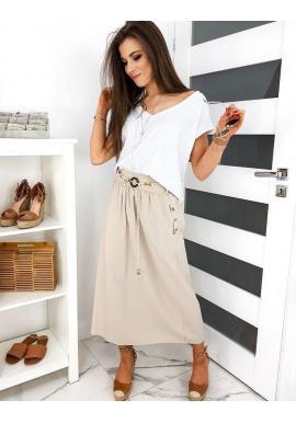 Béžová dlhá sukňa s opaskom pre dámy