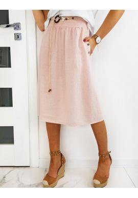 Dámska sukňa pod kolená s opaskom v ružovej farbe