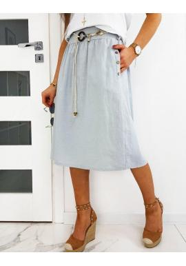 Sukňa pod kolená sivej farby s opaskom pre dámy