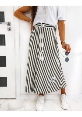 Kaki dlhá sukňa s pásikmi pre dámy