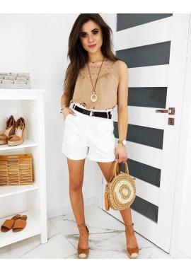 Dámske módne kraťasy s vysokým pásom v bielej farbe