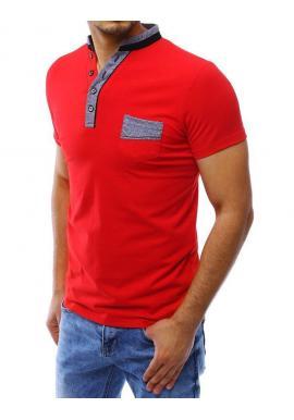 Pánska módna polokošeľa s vreckom na hrudi v červenej farbe