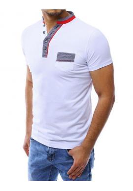 Biela módna polokošeľa s vreckom na hrudi pre pánov