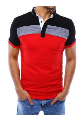 Čierno-červená módna polokošeľa so zapínaným golierom pre pánov