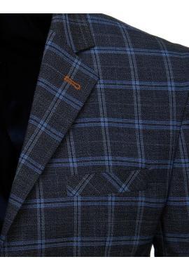 Tmavomodré kockované sako pre pánov