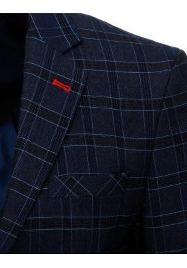 Pánske jednoradové sako s kockovaným vzorom v tmavomodrej farbe