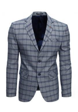 Sivé jednoradové sako s kockovaným vzorom pre pánov