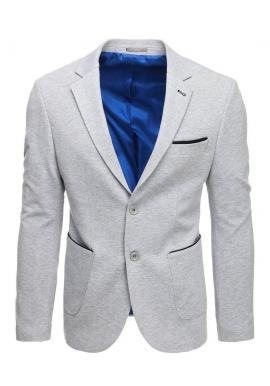 Pánske neformálne sako so záplatami na lakťoch v sivej farbe