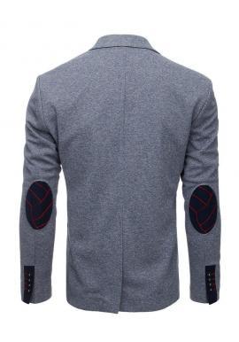 Sivé neformálne sako so záplatami na lakťoch pre pánov