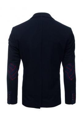 Neformálne pánske sako tmavomodrej farby so záplatami na lakťoch