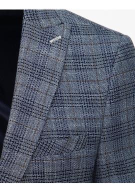 Vzorované pánske sako svetlomodrej farby s jedným gombíkom