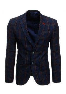 Tmavomodré jednoradové sako s kockovaným vzorom pre pánov