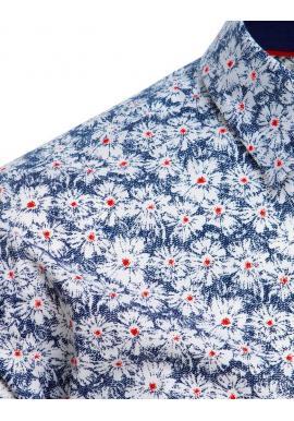 Pánska kvetovaná košeľa s dlhým rukávom v bielej farbe