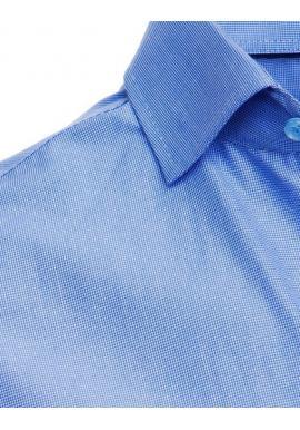 Kockovaná pánska košeľa svetlomodrej farby s dlhým rukávom