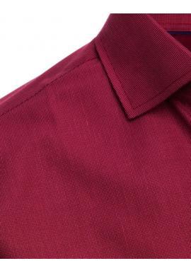 Bordová kockovaná košeľa s dlhým rukávom pre pánov