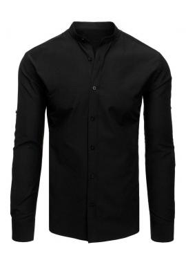 Pánska elegantná košeľa so stojacím golierom v čiernej farbe