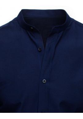 Pánska elegantná košeľa so stojacím golierom v tmavomodrej farbe