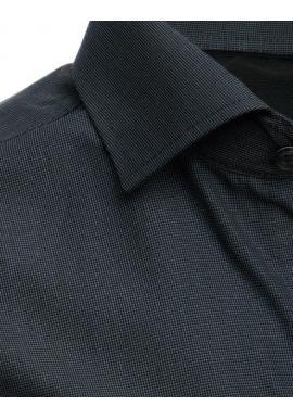 Kockovaná pánska košeľa tmavosivej farby s dlhým rukávom