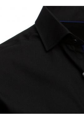 Čierne elegantné košele s dlhým rukávom pre pánov